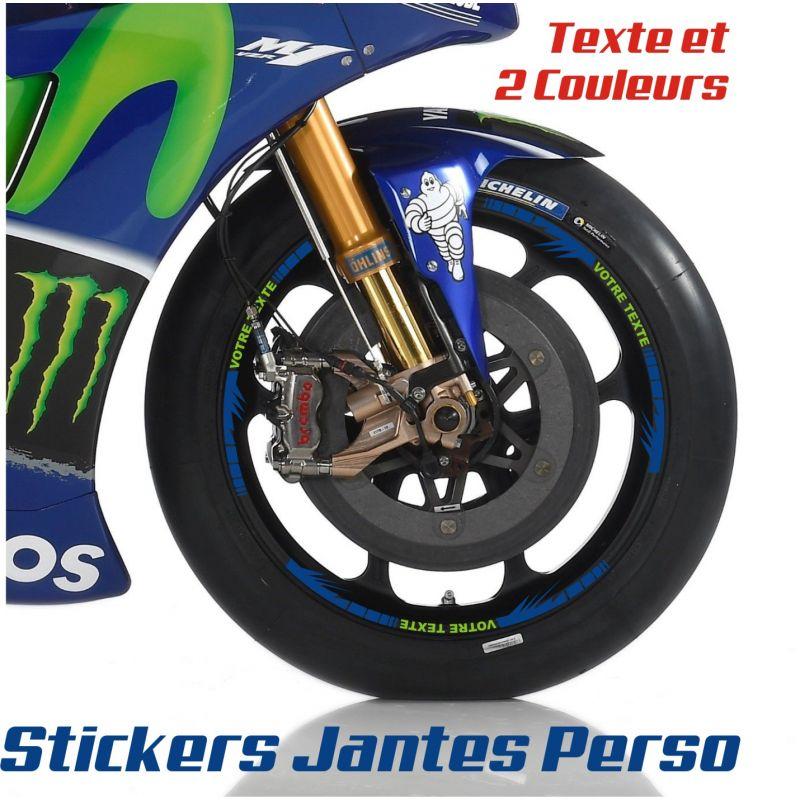 16 Stickers de jantes personnalisable 2 pour moto -Texte et 2 Coloris