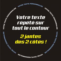 Stickers de jantes personnalisable 3 pour moto -Texte répété