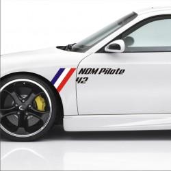 2 stickers drapeau Francais Nom Pilote + Numéro Course