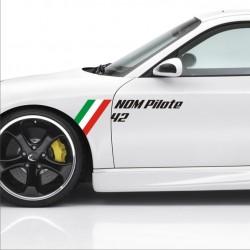 2 stickers drapeau Italien Nom Pilote + Numéro Course